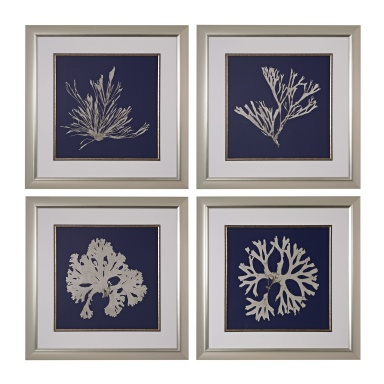 Картина Seaweed On Navy I, II, III, IV - Fine Art Giclee Under Glass