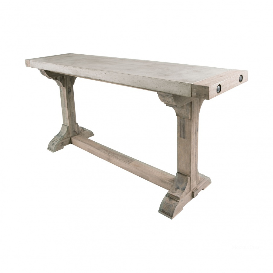 Стол Pirate Concrete and Wood Dining Table with Waxed Atlantic Finish Dimond Home