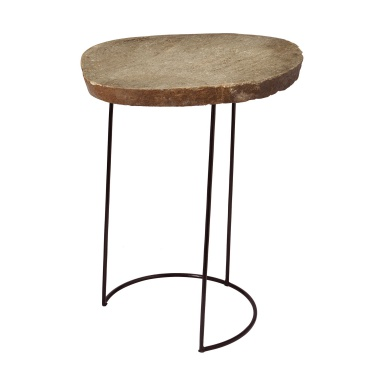 Стол Tall Stone Slab & Wire Frame Table