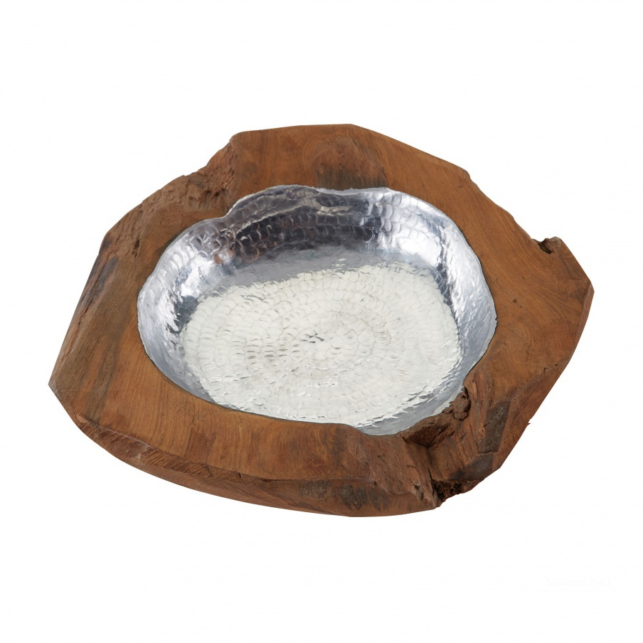 Вазочка для мелочей Small Round Teak Bowl With Aluminum Dimond Home