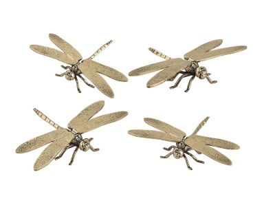 Аксессуар Set of 4 Hand Forged Gold Dragonfly Sculptures Dimond Home