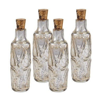 "Аксессуар Set of Four 10"" Mouth Blown Mercury Glass Bottle"
