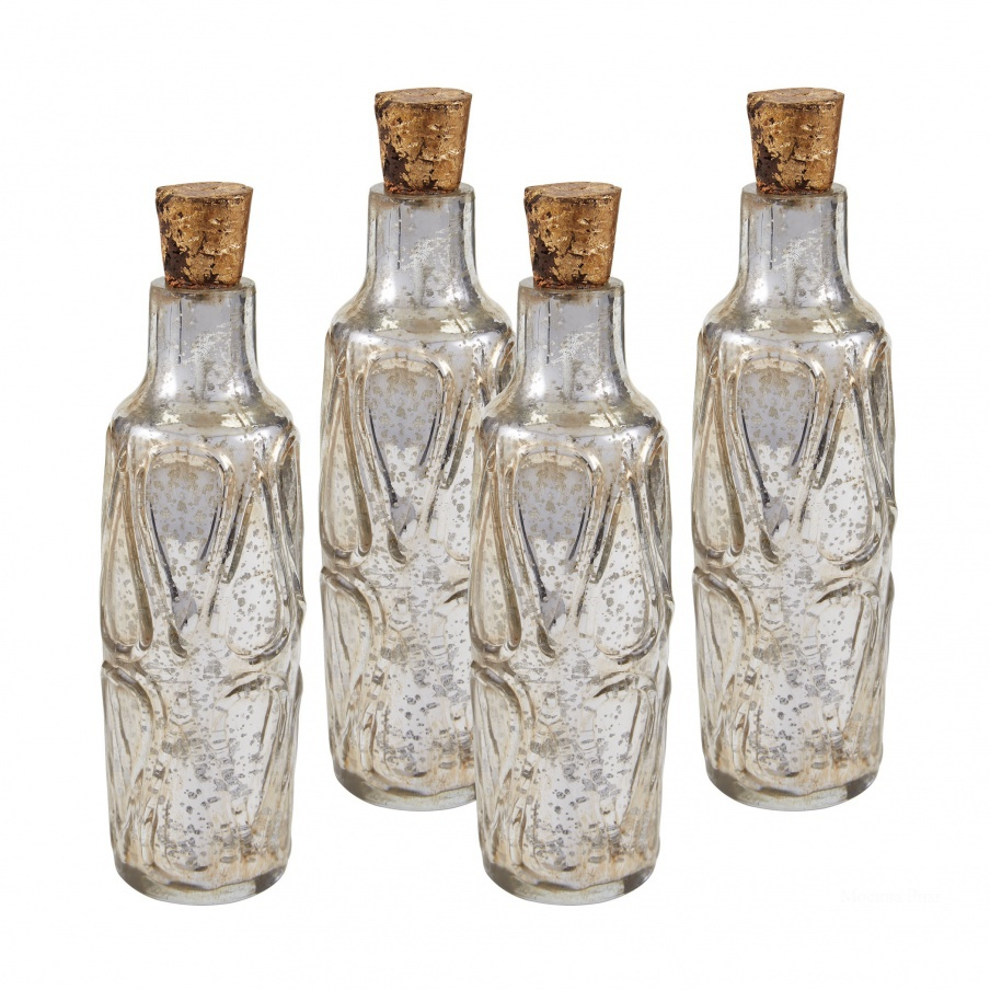 "Аксессуар Set of Four 10"" Mouth Blown Mercury Glass Bottle Dimond Home"