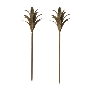 Аксессуар Patina Iron Leaf Stem - Set Of 2