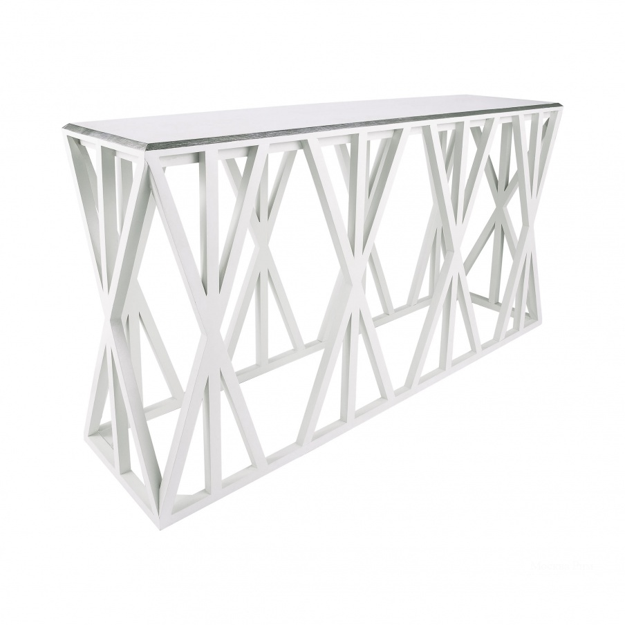 Консоль Weft Tressle Console In Grain De Bois Cappucino Foam And Silver Leaf Dimond Home