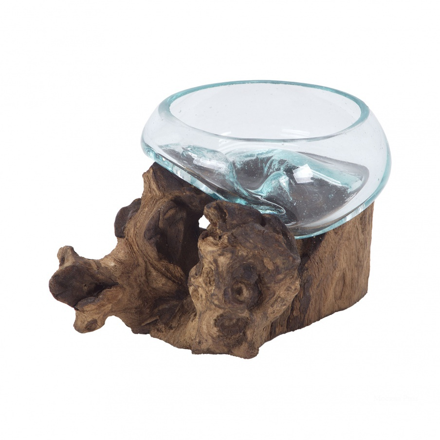 Сосуд Jetsam Teak Root And Glass Vessel - Short Dimond Home