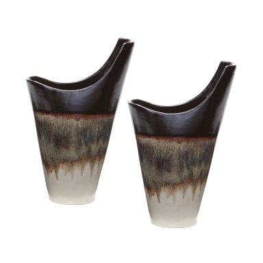Ваза Small Reaction Vases In Cascade Mocha - Set Of 2
