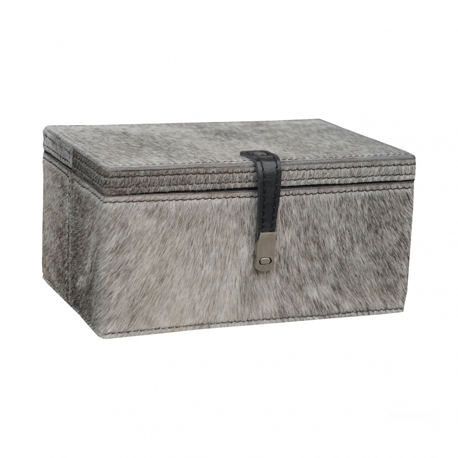 Коробочка для хранения Small Grey Hairon Leather Box Dimond Home