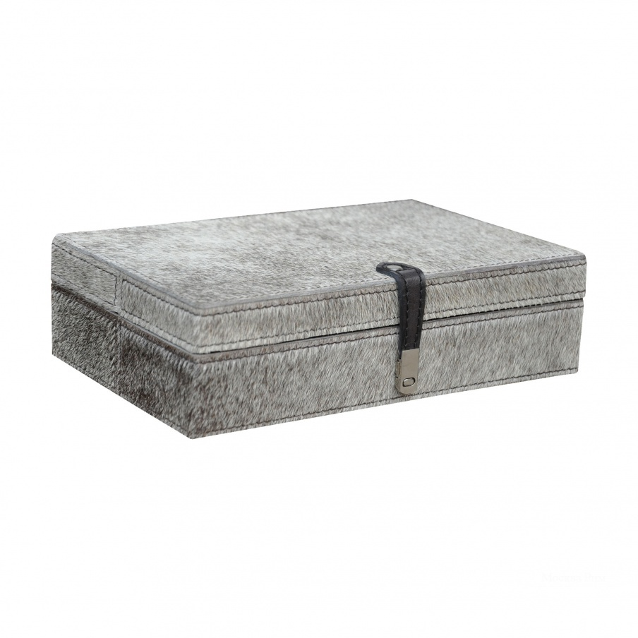 Коробочка для хранения Large Grey Hairon Leather Box Dimond Home