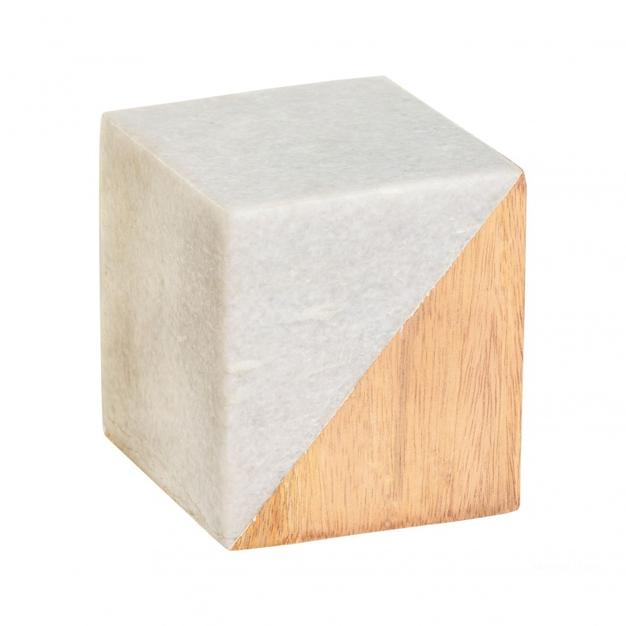 Аксессуар Small Marble and Wood Split Cube Dimond Home