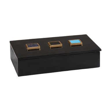 Коробочка для хранения Antilles Box In Black Marble And Mixed Agate