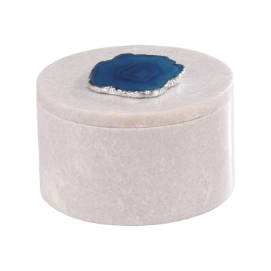 Коробочка для хранения Antilles Round Box In White Marble And Blue Agate