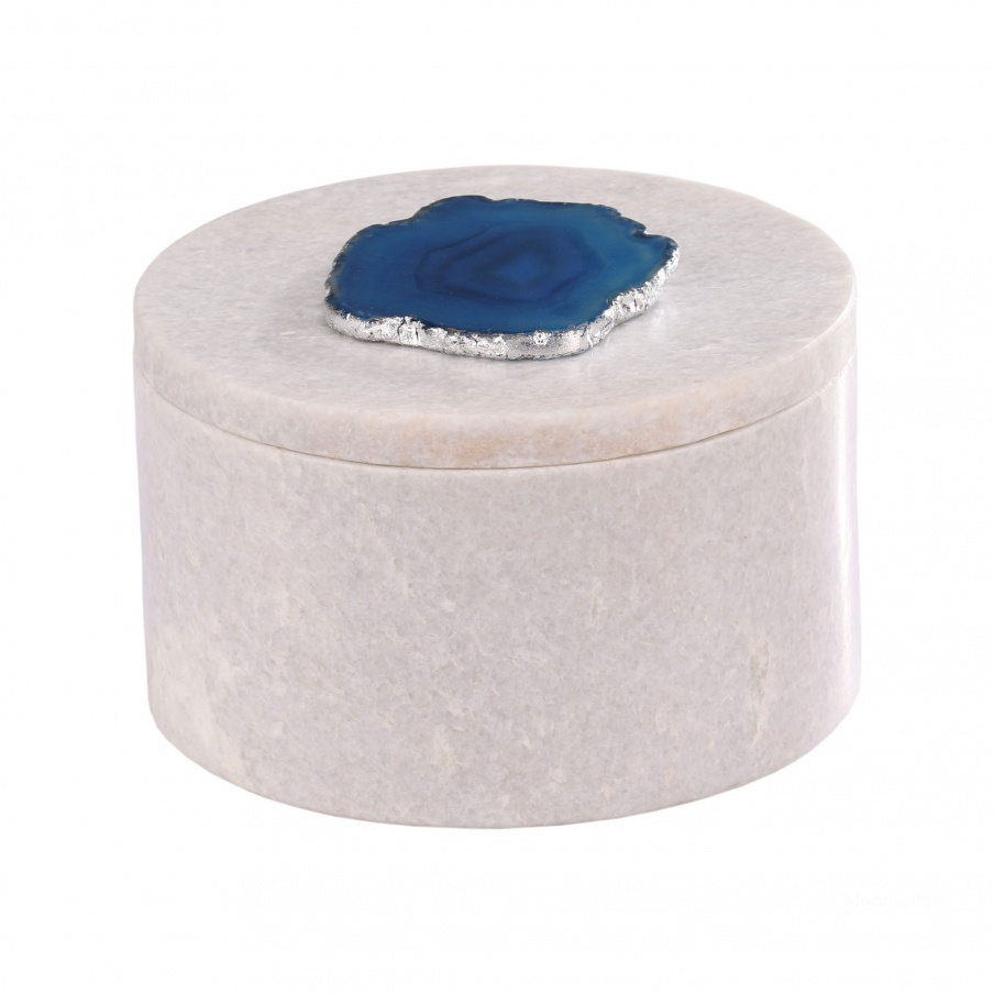 Коробочка для хранения Antilles Round Box In White Marble And Blue Agate Dimond Home