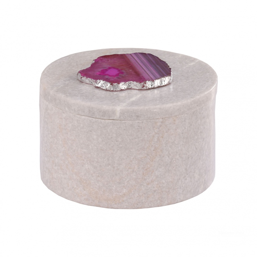 Коробочка для хранения Antilles Round Box In White Marble And Pink Agate Dimond Home