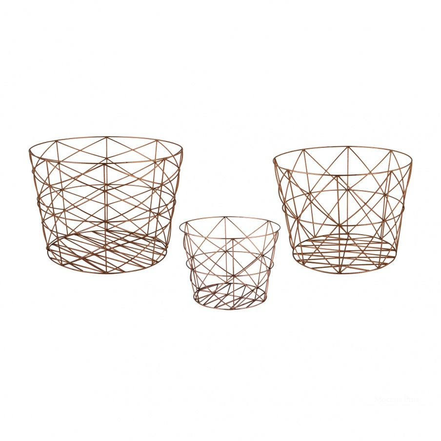 Корзина Nested Geometric Copper Baskets Dimond Home