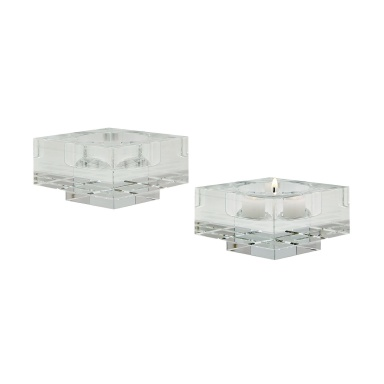Подсвечник Square Windowpane Crystal Candleholders - Small. Set Of 2