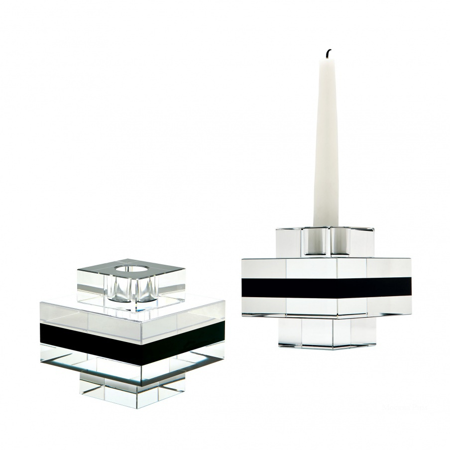 Подсвечник Square Tuxedo Crystal Pedestal Candleholders - Set Of 2 Dimond Home