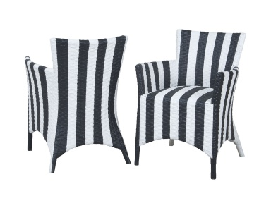 Кресло Rattan Peel Chairs In Hand Painted Black And White Stripe Finish - Set of 2 Guild Master