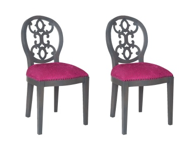 Кресло Dimple Chair In Antique Smoke And Cerise Fabric Sterling