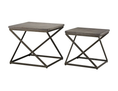 Стол Moya Aged Iron Set of 2 Metal and Concrete Accent Tables Sterling