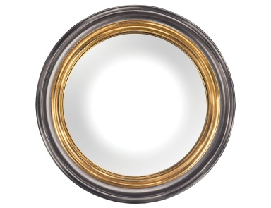 Настенное Barcelona Composite Frame Convex Wall Mirror In Belgian Black And Gold Sterling