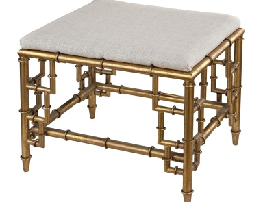 Табурет Stool With Bamboo Frame In Gold Leaf And Linen Seat Sterling