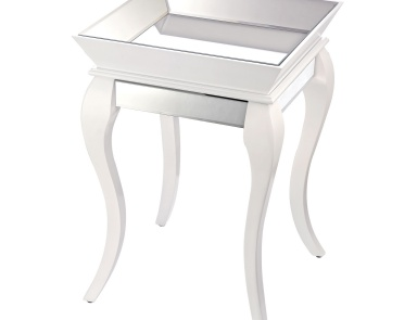 Стол Side Table With Bent Glass In White Sterling