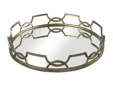 Поднос Iron Scroll Mirrored Tray Sterling