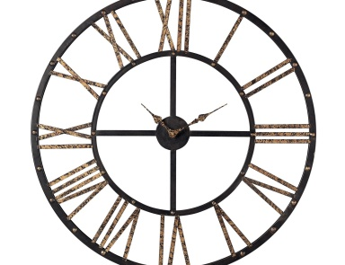 Часы настенные Metal Framed Roman Numeral Open Back Wall Clock Sterling