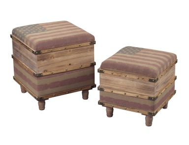 Скамья National-Set Of 2 Wooden Storage Ottomans Sterling