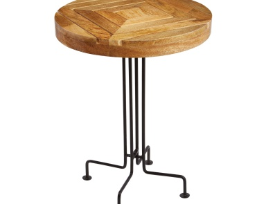 Стол Natural Mango Wood Slatted Accent Table Sterling