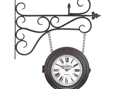 Часы настенные Double Sided Curled Iron Wall Clock Sterling