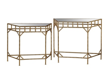 Стол Gold Leaf and Antique Mirror Nested Tables Sterling