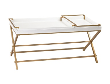Стол Gold and White Coffee Table with Trays Sterling