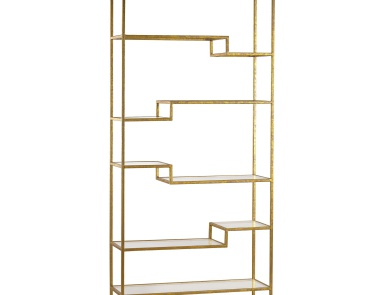 Стеллаж Gold and Mirrored Shelving Unit Sterling