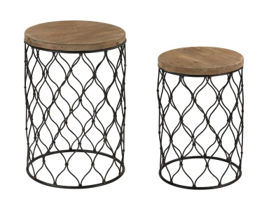 Стол Set of 2 Mesh Work Drum Tables Sterling